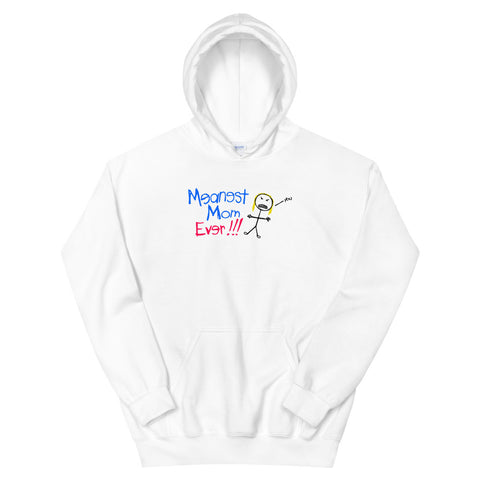 funny mom hoodies - white meanest mom ever