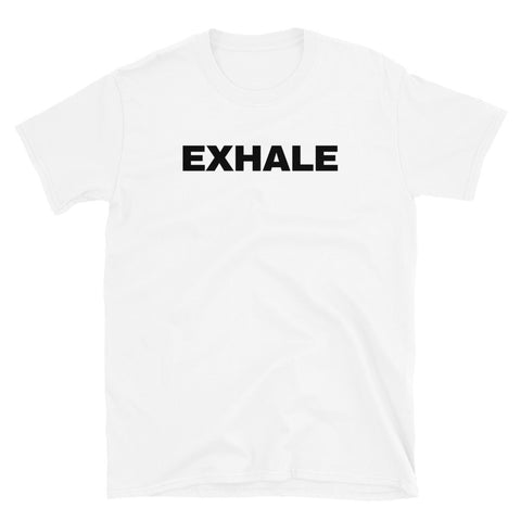 funny yoga t-shirts - white exhale