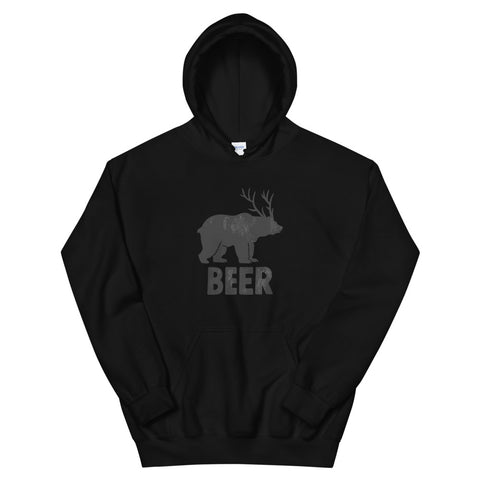 funny drinking hoodies - black Bear + Deer = Beer