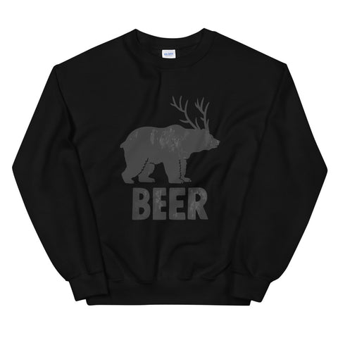 funny drinking sweatshirts - black Bear + Deer = Beer