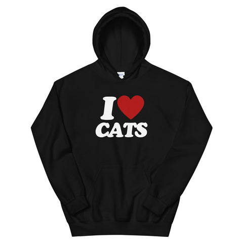 funny cat hoodies - black i love cats
