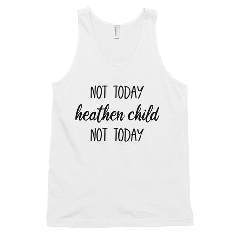 funny mom tank tops - white not today heathen child