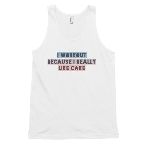 funny workout tank tops - white I Workout Because I Really Like Cake