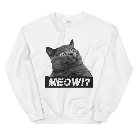 funny cat sweatshirts - white a Surprised Cat MEOW