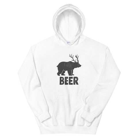funny drinking hoodies - white Bear + Deer = Beer
