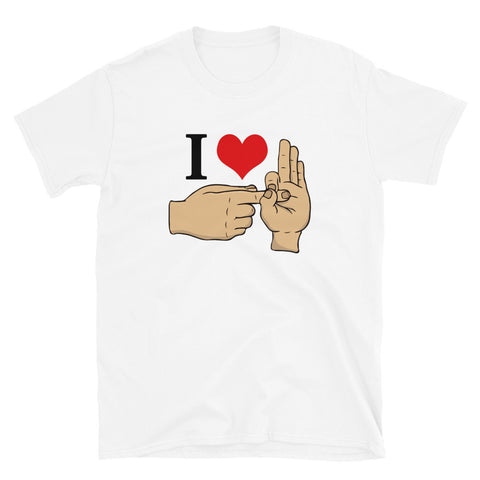 funny offensive t-shirts - white I Love Sex Hand Gesture v2