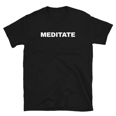 funny yoga t-shirts - black meditate