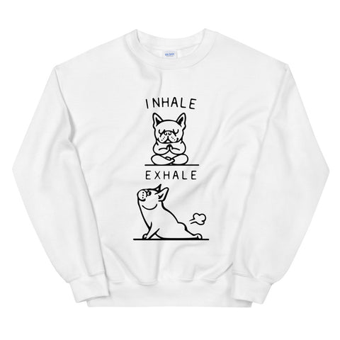 funny yoga sweatshirts - white Pug Dog Inhale Exhale Fart