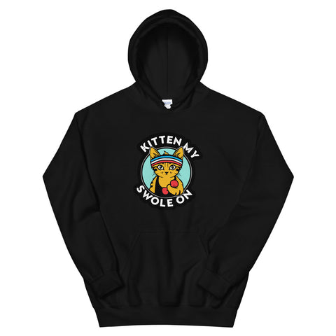 funny cat hoodies - black Kitten My Swole On V2