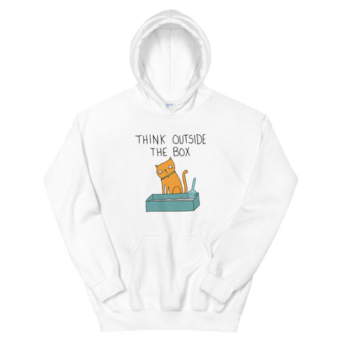 funny cat hoodies - white Think Outside the Box Cat