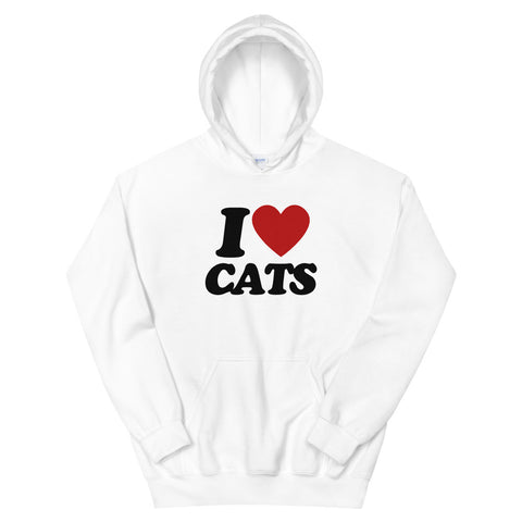funny cat hoodies - white i love cats