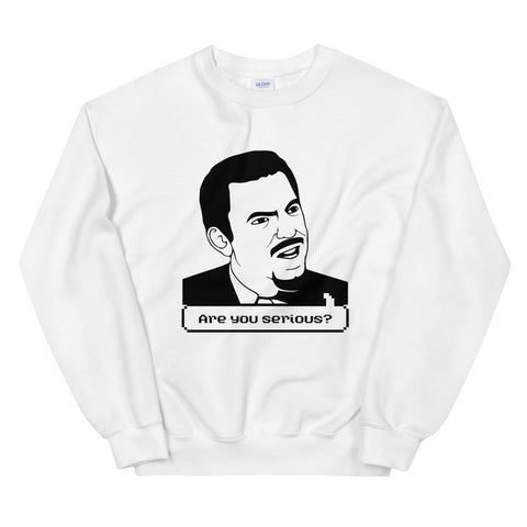 funny meme sweatshirts - white Are You Serious Face Meme