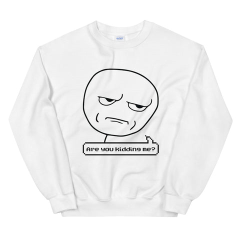 funny meme sweatshirts - white Are You Kidding Me Meme