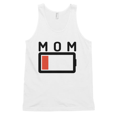 funny mom tank tops - white Mom Battery Charge Low V2