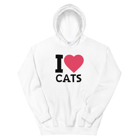 funny cat hoodies - white i love cats v2
