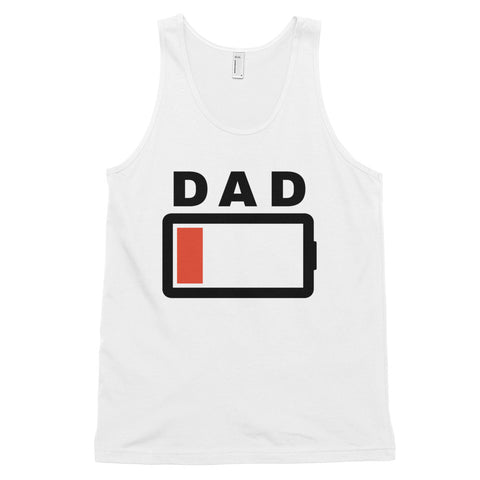 funny dad tank tops - white Dad Battery Charge Low