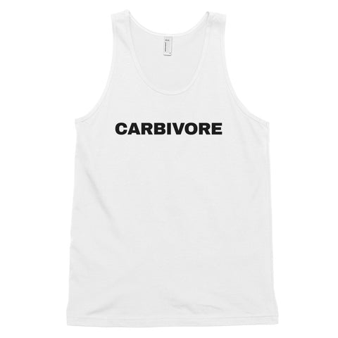 funny workout tank tops - white carbivore