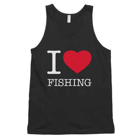 funny fishing tank tops - black I Love Fishing