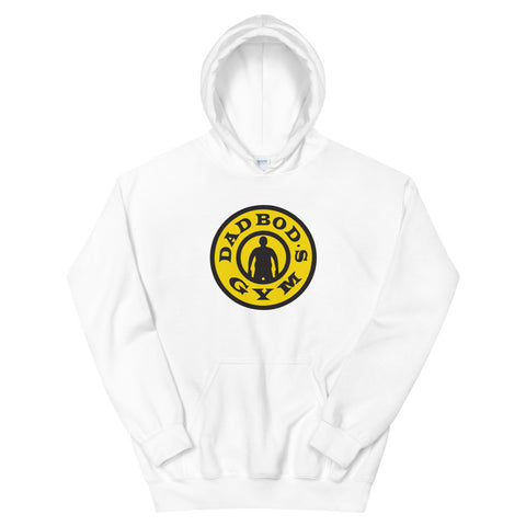 funny dad hoodies - white Dad Bod's Gym, Gold's Gym Parody