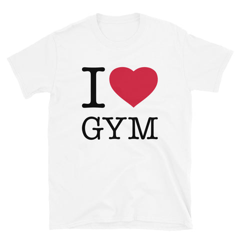 funny workout t-shirts - white I Love Gym