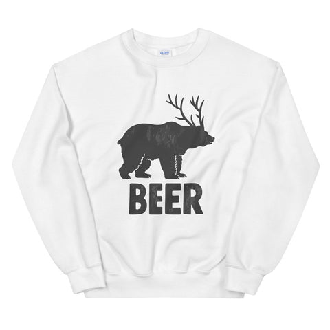 funny drinking sweatshirts - white Bear + Deer = Beer