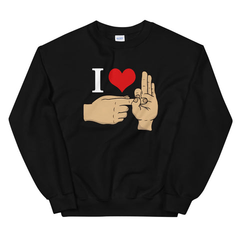 funny offensive sweatshirts - black I Love Sex Hand Gesture V2