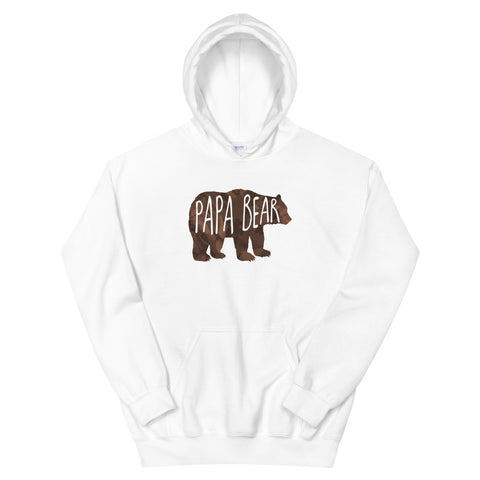 funny dad hoodies - white Papa Bear V2