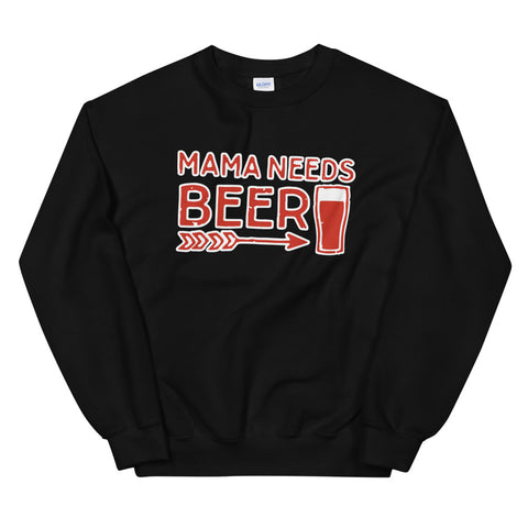 funny mom sweatshirts - black mama needs beer