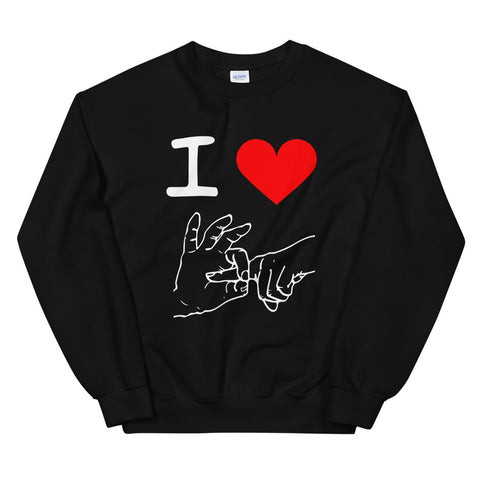 funny offensive sweatshirts - black i love sex hand gesture