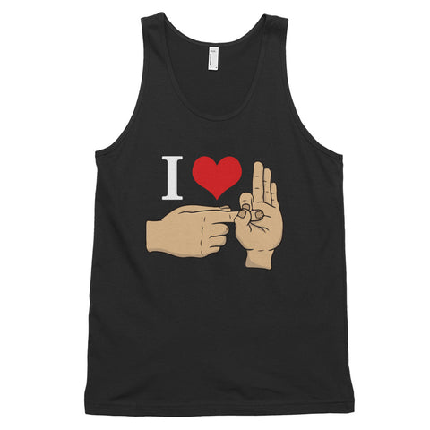 funny offensive tank tops - black I Love Sex Hand Gesture v2