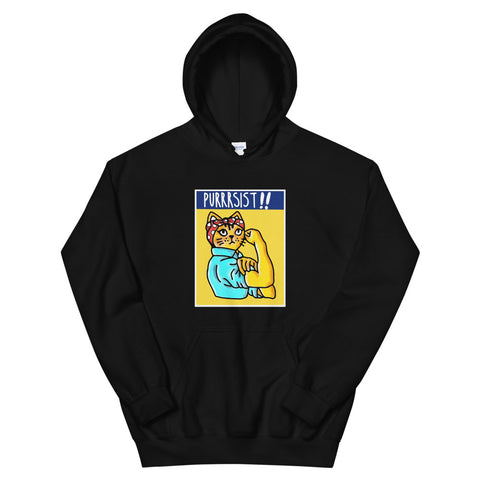funny cat hoodies - black Purrrsist Persist Cat
