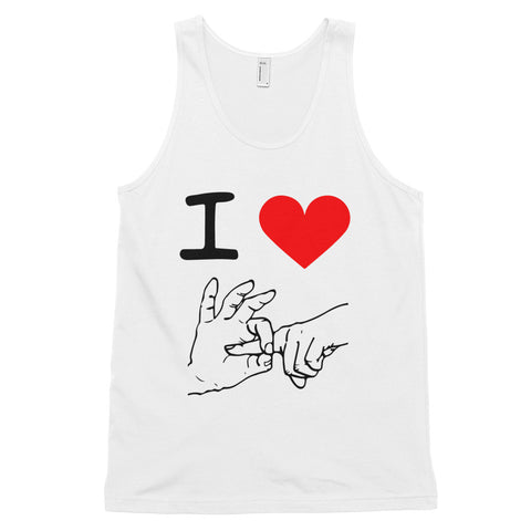 funny offensive tank tops - white I Love Sex Hand Gesture