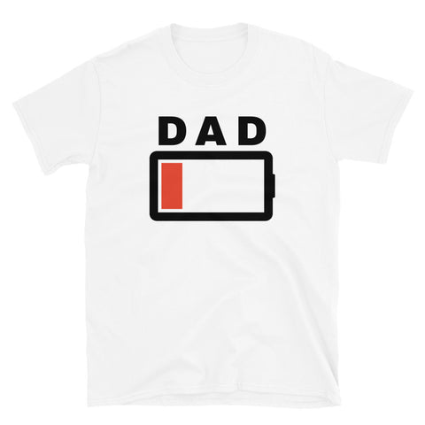 funny dad t-shirts - white Dad Battery Charge Low