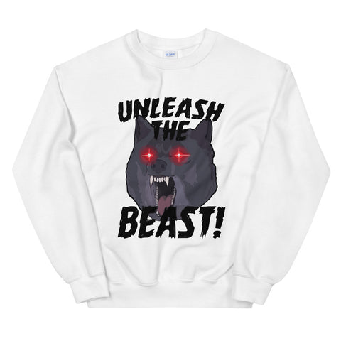 funny workout sweatshirts - white Unleash The Beast