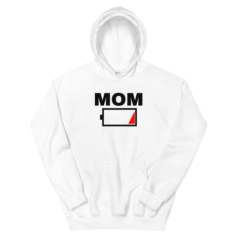 funny mom hoodies - white Mom Battery Charge Low