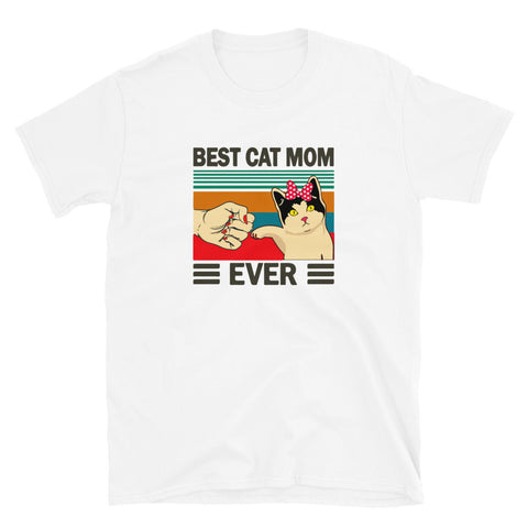 funny cat t-shirts - white Best Cat Mom Ever with Pink Bow