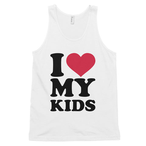 funny mom tank tops - white i love my kids