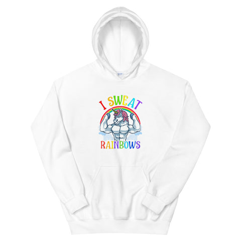 funny workout hoodies - white Buff Unicorn I Sweat Rainbows