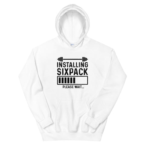 funny workout hoodies - white Installing Sixpack Please Wait