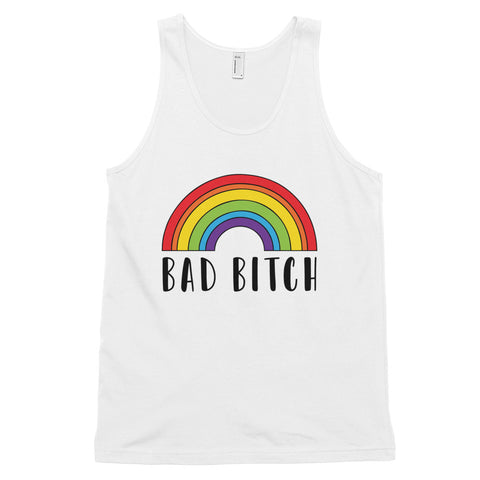 funny gay tank tops - white Bad Bitch Rainbow
