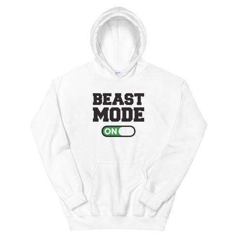 funny workout hoodies - white Beast Mode On