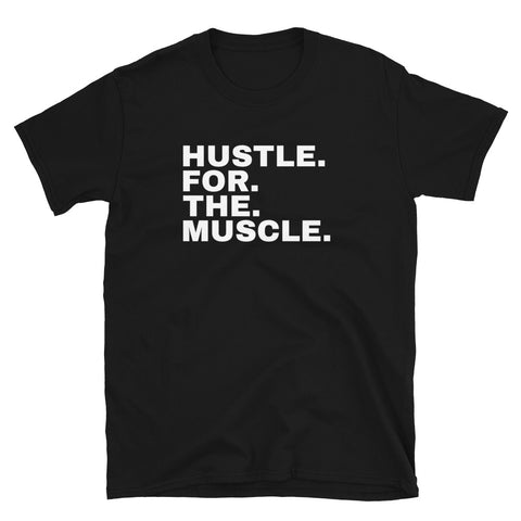 Funny Workout T-Shirts 💪– Hustle For The Muscle (BLACK / NAVY)