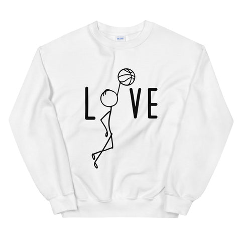 funny basketball sweatshirts - white Basketball Love V2