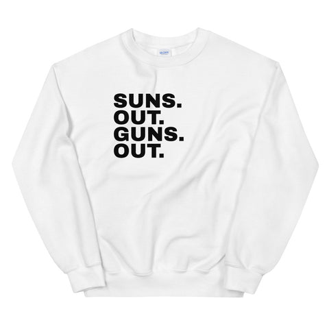 Funny Workout Sweatshirts 💪– Suns Out Guns Out (WHITE / GREY)
