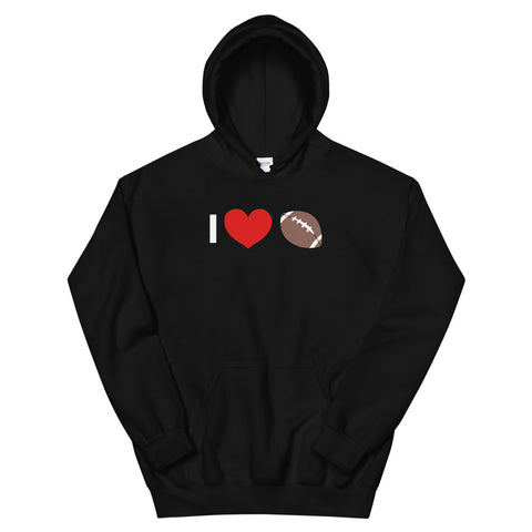 funny football hoodies - black I Love Football