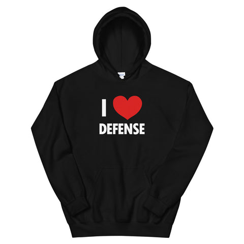 funny football hoodies - black I Love Defense