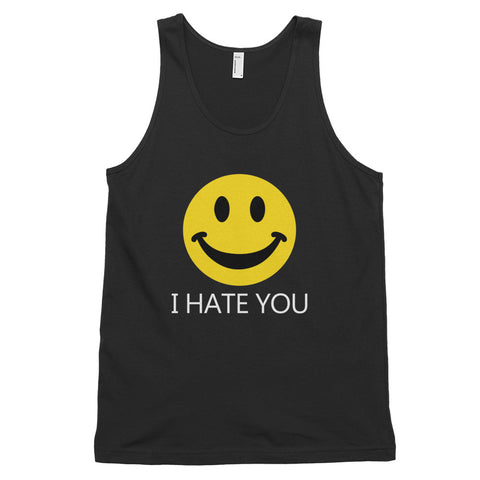 funny offensive tank tops - black i hate you smiley face