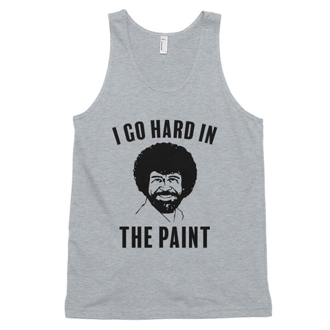 funny basketball tank tops - grey Bob Ross I Go Hard In The Paint