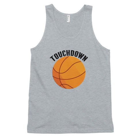funny basketball tank tops - grey Touchdown Basketball Satire V2
