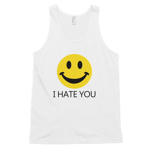 funny offensive tank tops - white i hate you smiley face
